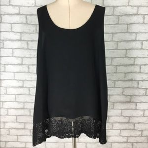 Eileen Fisher Black Sleeveless Scoop Neck Tunic Lg